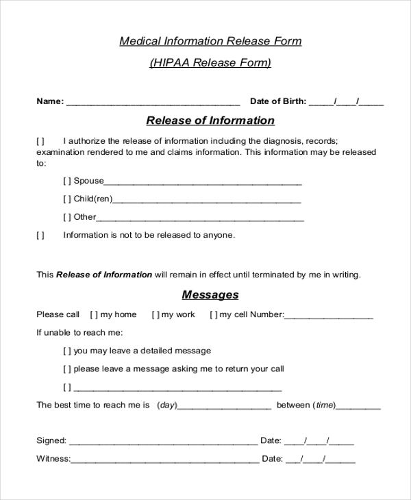Hippa Release Forms The Officer Provides A Hipaa Compliant