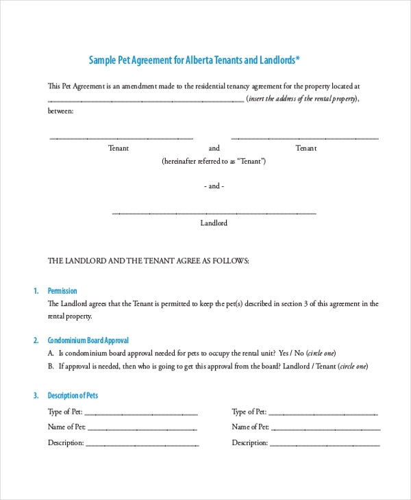 Pet Agreement Form For Rental Do You Know How Many People