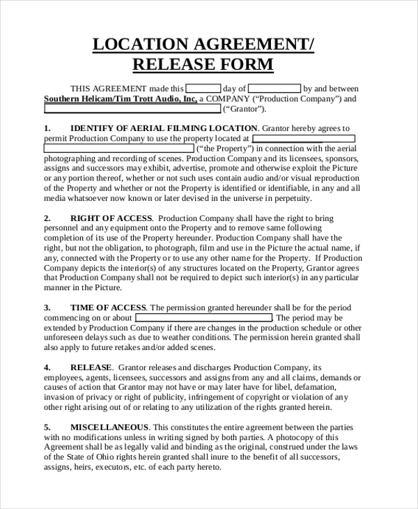 Sample Location Release Form - 10+ Free Documents In Pdf