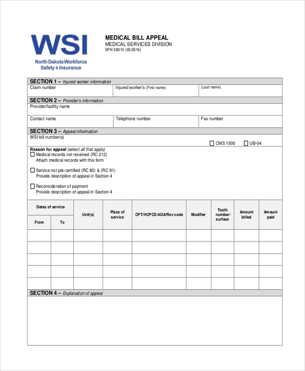 medical billing form