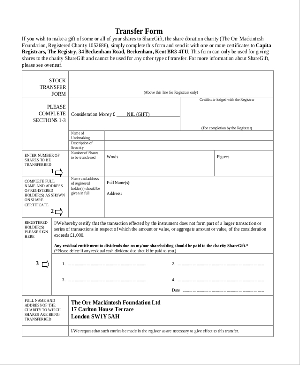 missing stock transfer form