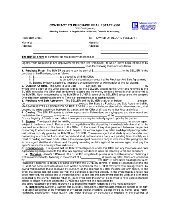 offer for contract to purchase real estate form