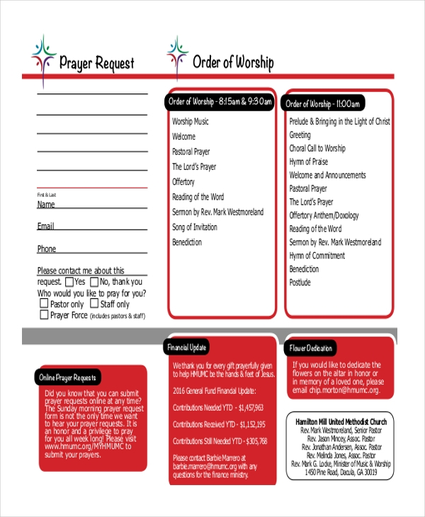 order of worship prayer request
