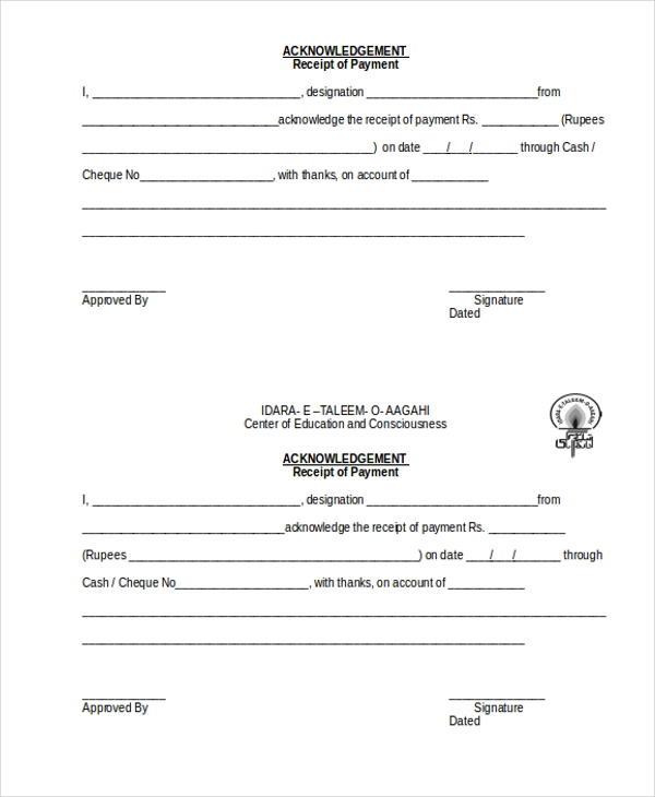 payment acknowledgement receipt form1