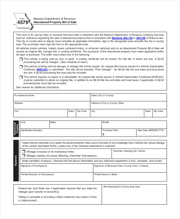 property bill of sale form