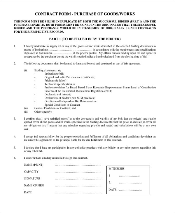 sample purchase goods contract form