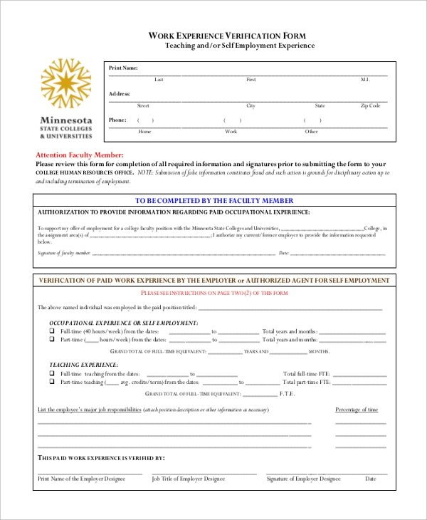 self Employment Work Verification Form