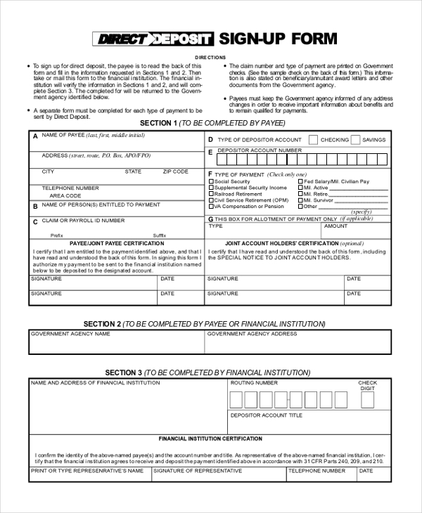 Sample Direct Deposit Form   Free Documents In Pdf