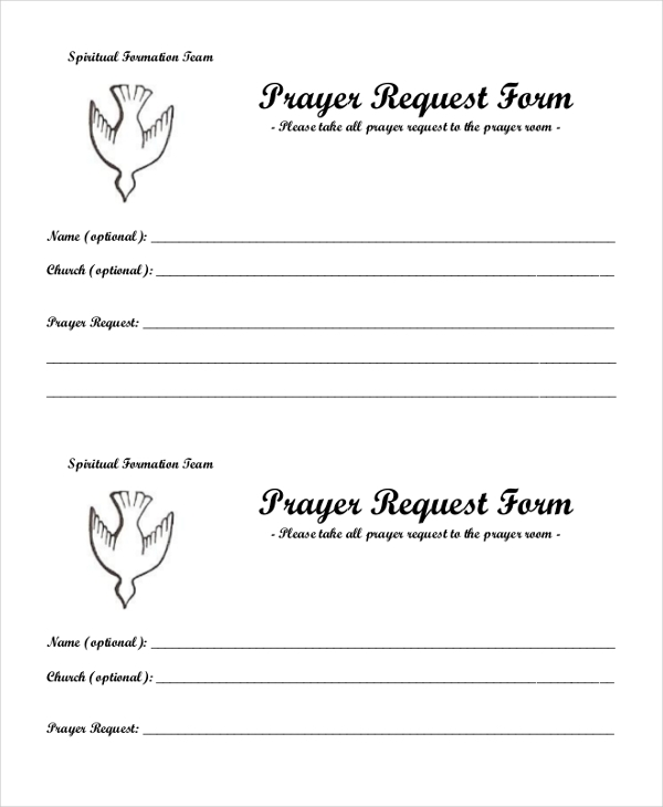 Sample Prayer Request Form   Free Documents In Pdf