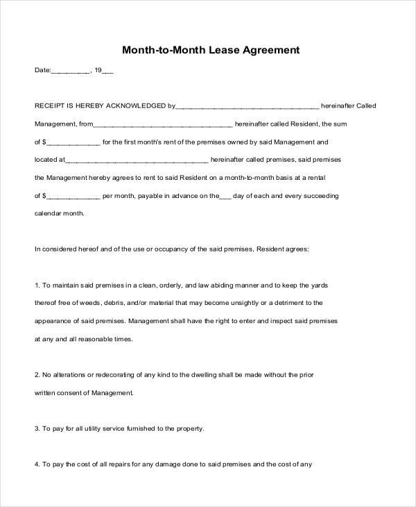 Sample Month To Month Lease Form   Free Documents In Pdf