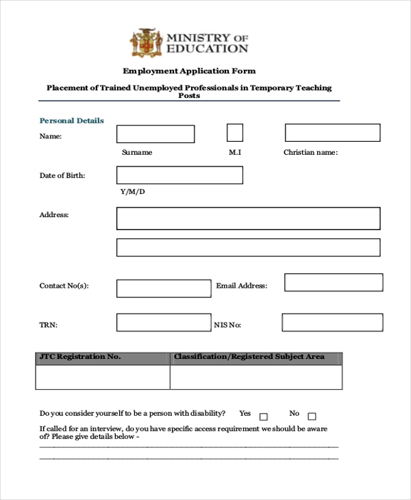 teacher employeement application form
