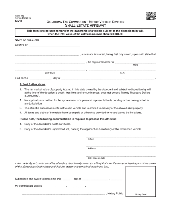Sample Small Estate Affidavit Form - 9+ Free Documents in Word, PDF