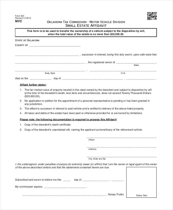photo relating to Free Printable Small Estate Affidavit Form named Affidavit Kind For Tiny Estate