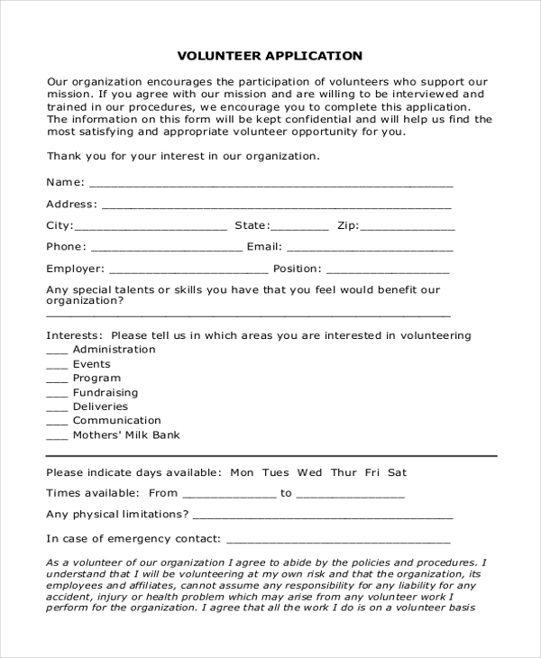 Sample Volunteer Application Form   Free Documents In Pdf