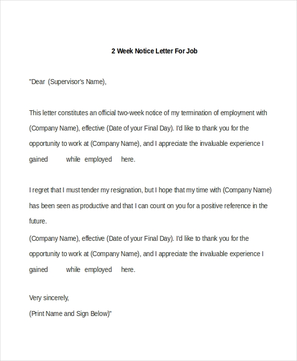 Sample 2 Week Notice Letter