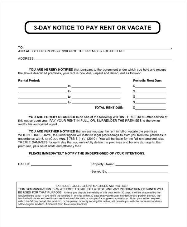 Sample Eviction Notice Forms   Free Documents In Pdf Doc