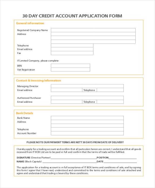 11 Sample Credit Application Forms Free Sample Example Format – Sample Bank Application
