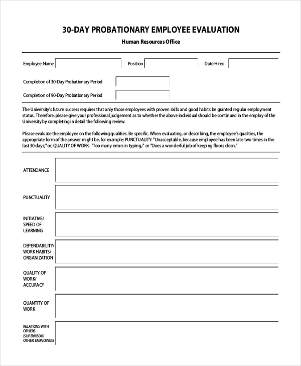 Employee Evaluation. Student Employee Evaluation Form Sample