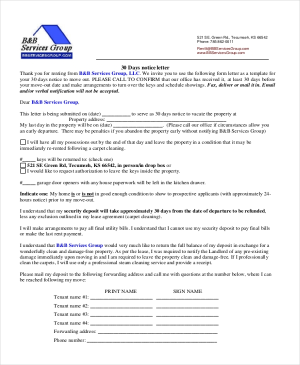 Sample  Day Notice Form   Free Documents In Word Pdf