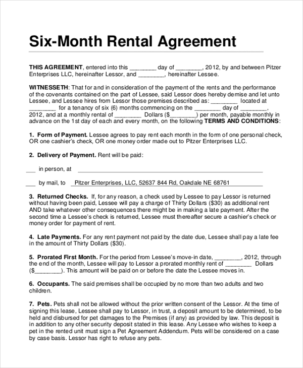 Good 6 Month Rental Lease Agreement Form Format Design Ideas