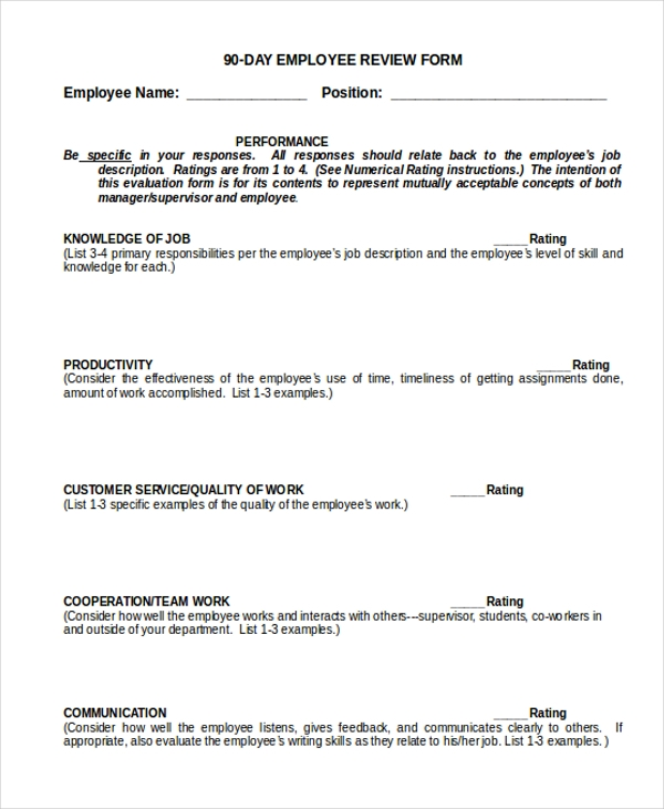 Sample Employee Review Form   Free Documents In Doc Pdf
