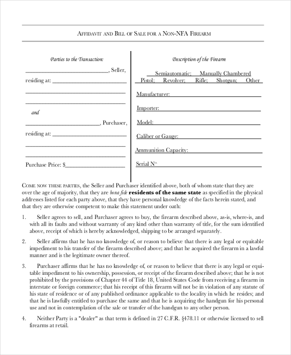 affidavit and bill of sale for a firearm