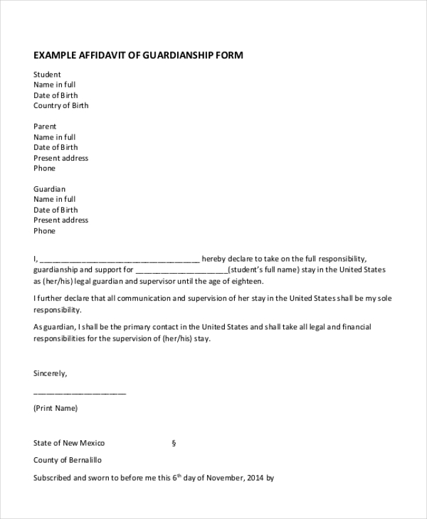 Sample Guardianship Form   Free Documents In Pdf