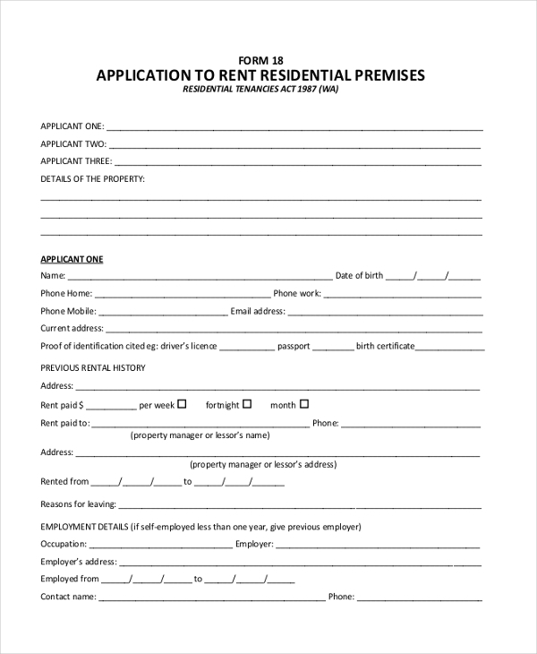 application to rent residential premises