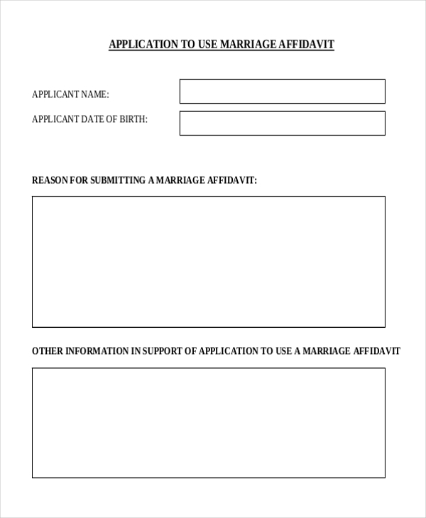 application to use marriage affidavit