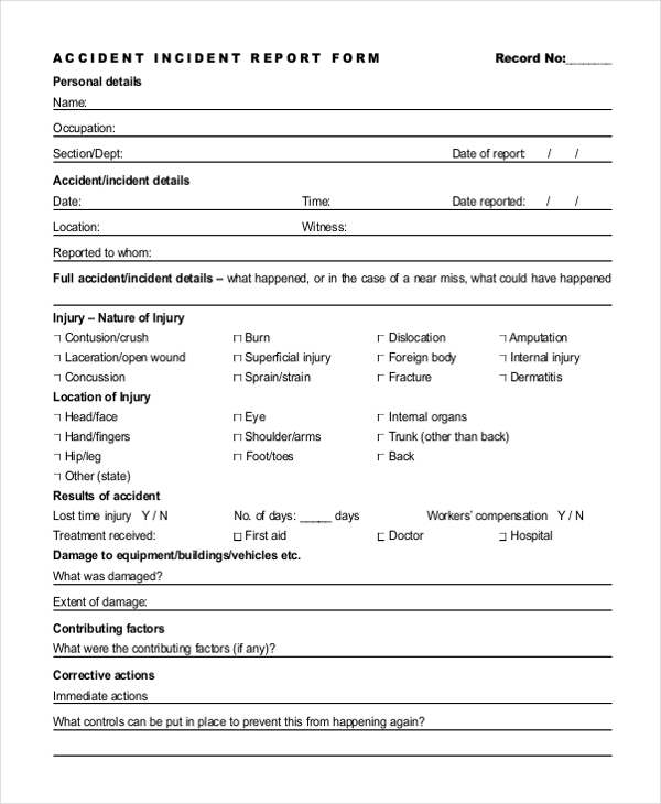 Sample Incident Report Form   Free Documents In Pdf