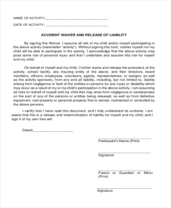 Accident Waiver And Release Of Liability Form  Basic Liability Waiver Form
