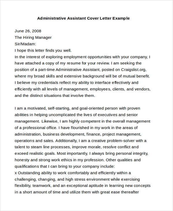 Sample Cover Letter Example - 12+ Free Documents In Pdf, Doc