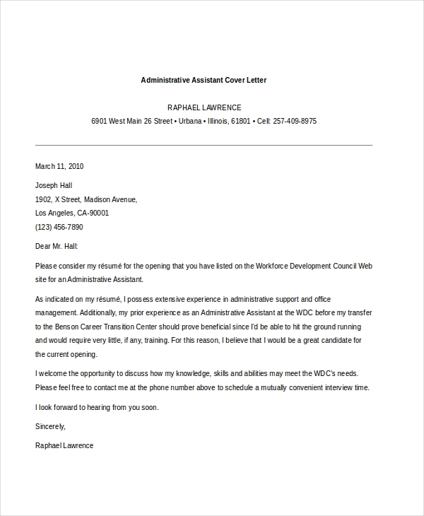 Sample administrative assistant cover letter 7 free for Sample cover letters for administrative jobs