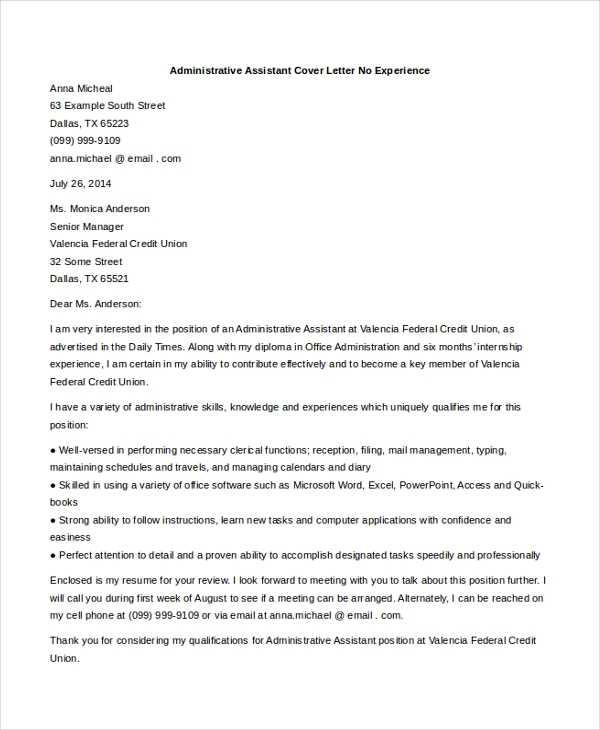 Sample Administrative Assistant Cover Letter - 7+ Free Documents
