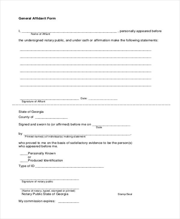 Affidavit Form Sample 10 Free Documents in PDF – General Affidavit Sample