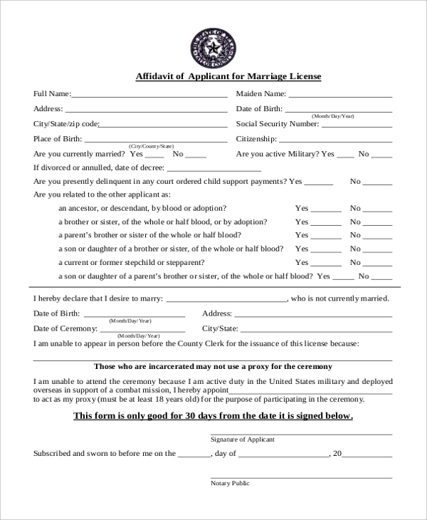 affidavit applicant for marriage lincese