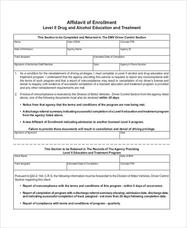 affidavit of enrollment