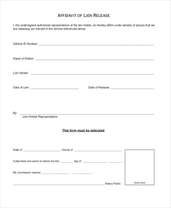 Affidavit Of Lien Release Form In PDF