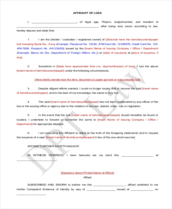 Simple Affidavit Sample Sample Affidavit Free Sworn Affidavit