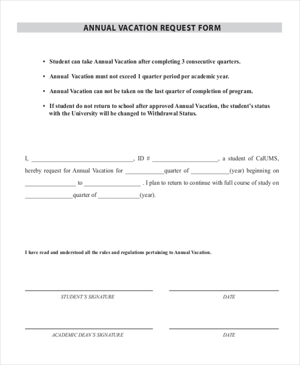 Sample Vacation Request Form   Free Documents In Doc Pdf