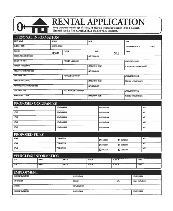 Sample Apartment Application Form   Free Documents In Pdf