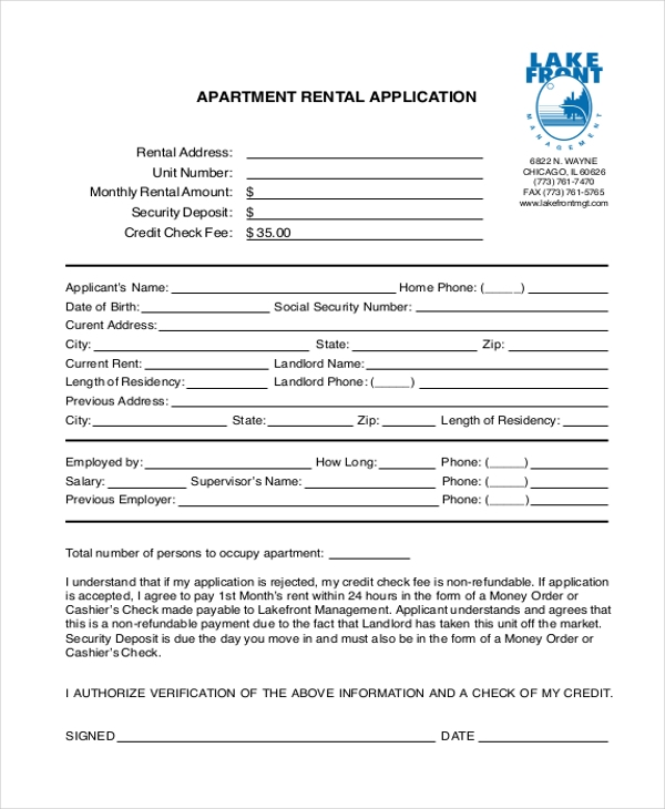 Sample Rental Application Forms  Free Sample Example Format