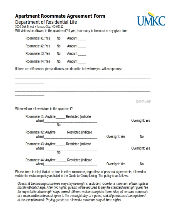 Roommate Agreement Form  BesikEightyCo