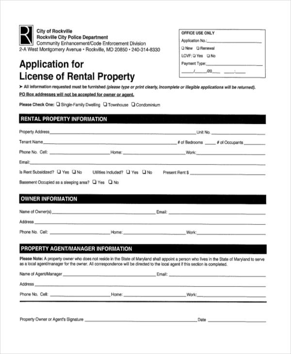 application for lincense rental property