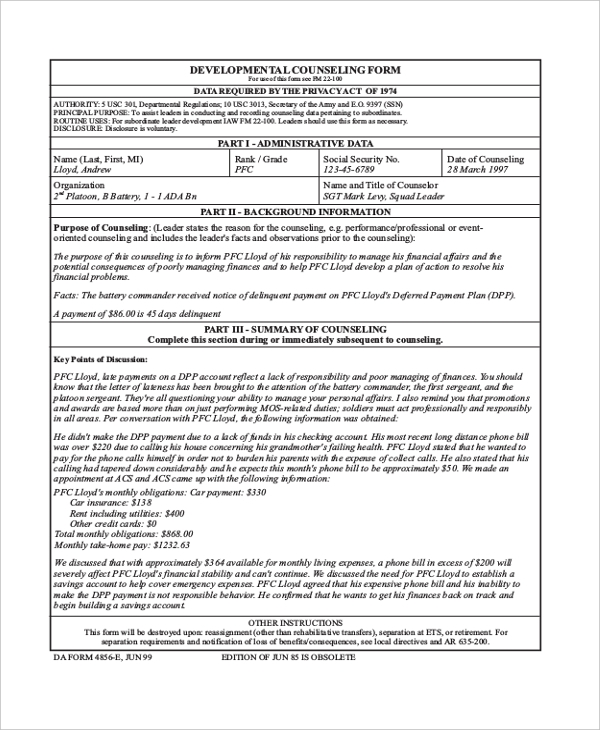 Sample Army Counseling Form   Free Documents In Pdf Doc
