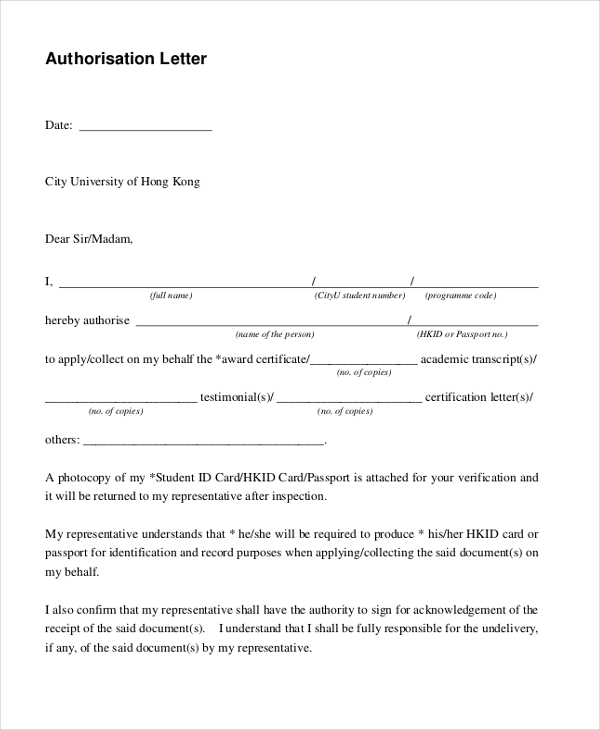 Sample Letter of Authorization Form 9 Free Documents in PDF – Authorization Letter Sample