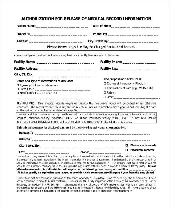 authorization to release medical records form