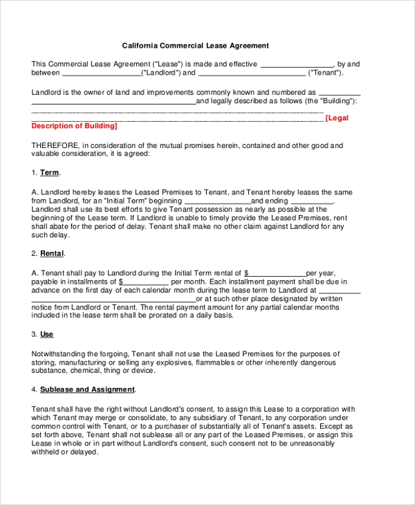 Sample Commercial Lease Form 9 Free Documents in PDF Doc – Sample Commercial Lease Agreement