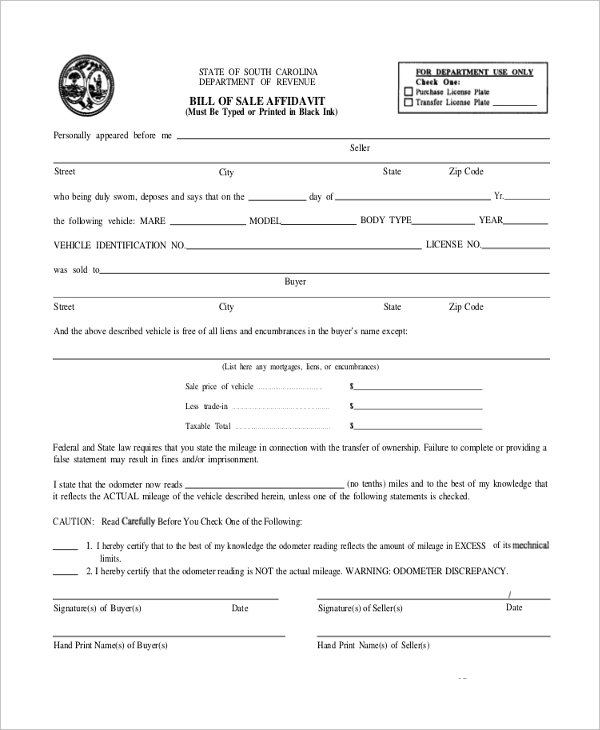 blank affidavit bill of sale blank