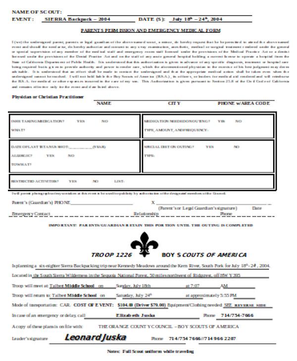bsa medical form sample